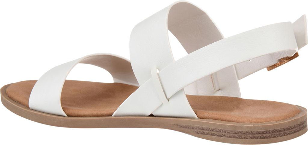 Women's Journee Collection Lavine Flat Sandal, White Faux Leather, large, image 4