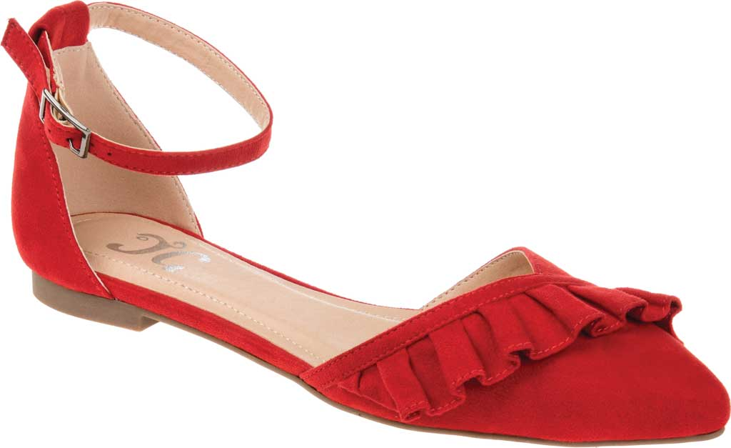 Women's Journee Collection Lazae Pointed Toe Ankle Strap Flat, Red Faux Suede, large, image 1
