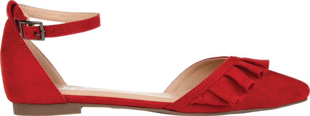 Women's Journee Collection Lazae Pointed Toe Ankle Strap Flat, Red Faux Suede, large, image 2