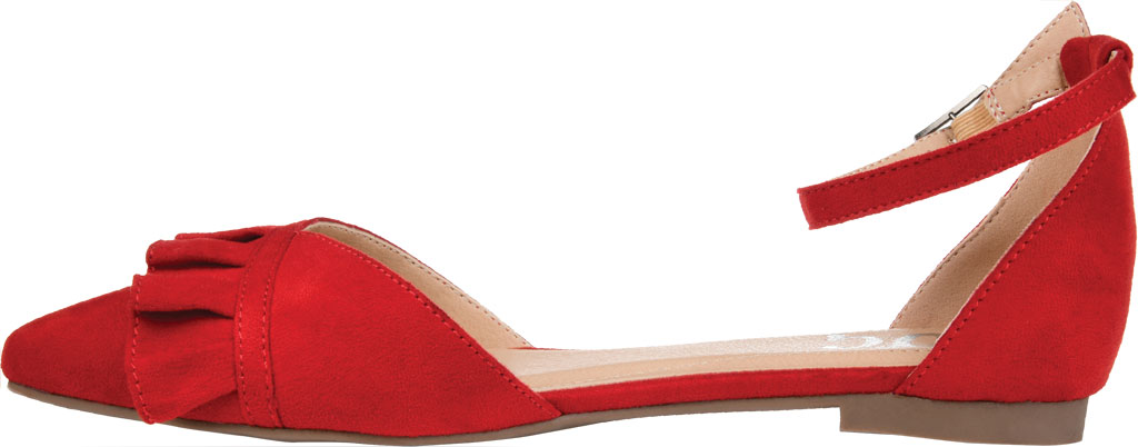 Women's Journee Collection Lazae Pointed Toe Ankle Strap Flat, Red Faux Suede, large, image 3