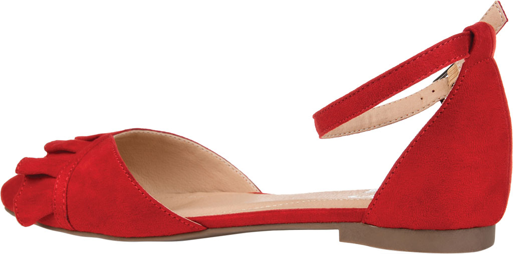 Women's Journee Collection Lazae Pointed Toe Ankle Strap Flat, Red Faux Suede, large, image 4