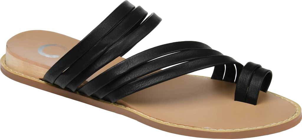 Women's Journee Collection Consuelo Toe Loop Sandal, Black Faux Leather, large, image 1
