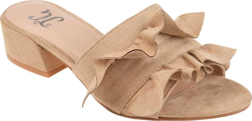 Women's Journee Collection Sabica Heeled Slide, Nude Faux Suede, large, image 1