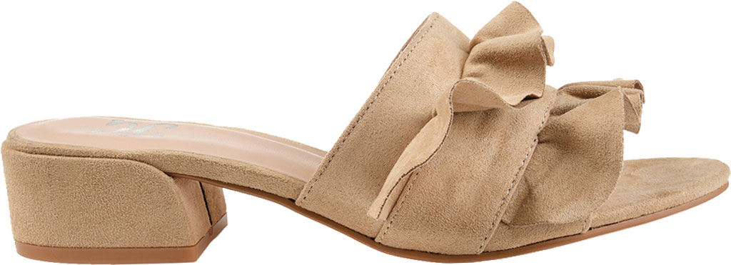 Women's Journee Collection Sabica Heeled Slide, Nude Faux Suede, large, image 2