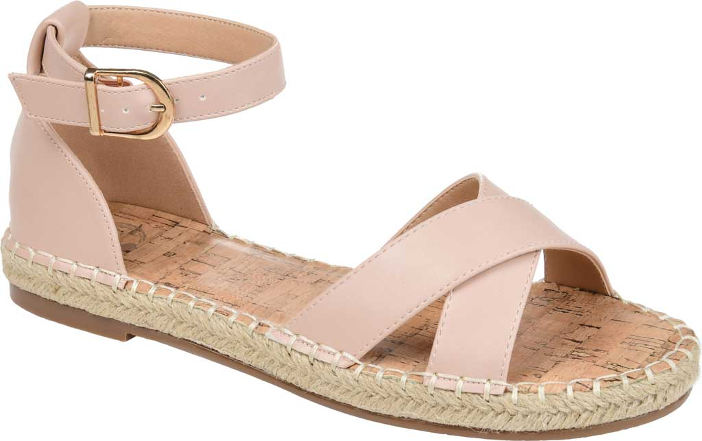 Women's Journee Collection Lyddia Espadrille Ankle Strap Sandal, Blush Faux Leather, large, image 1