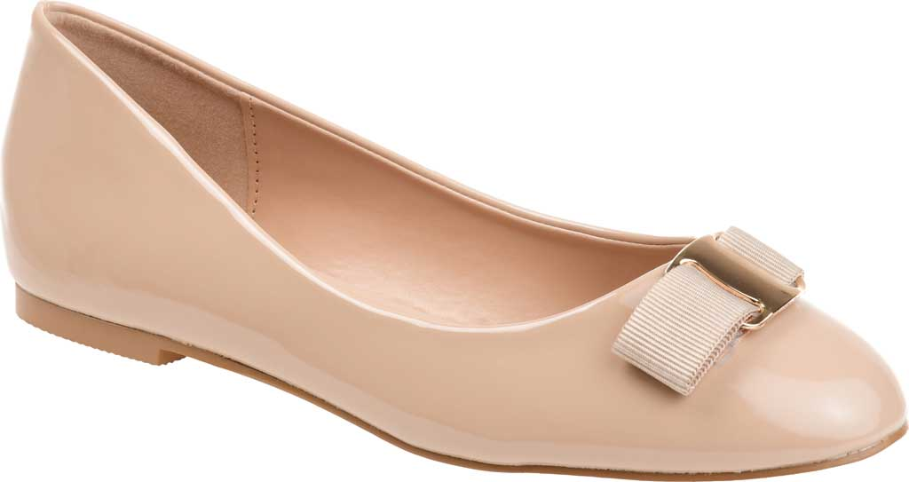 Women's Journee Collection Kim 2 Ballet Flat, Nude Faux Leather/Patent, large, image 1