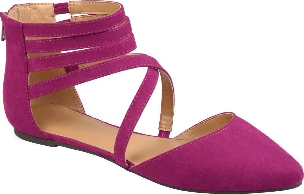 Women's Journee Collection Marlee Pointed Toe Flat, Purple Faux Suede, large, image 1