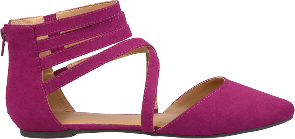 Women's Journee Collection Marlee Pointed Toe Flat, Purple Faux Suede, large, image 2