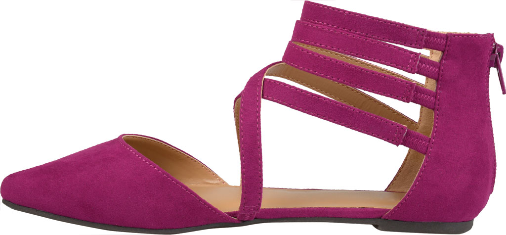 Women's Journee Collection Marlee Pointed Toe Flat, Purple Faux Suede, large, image 3