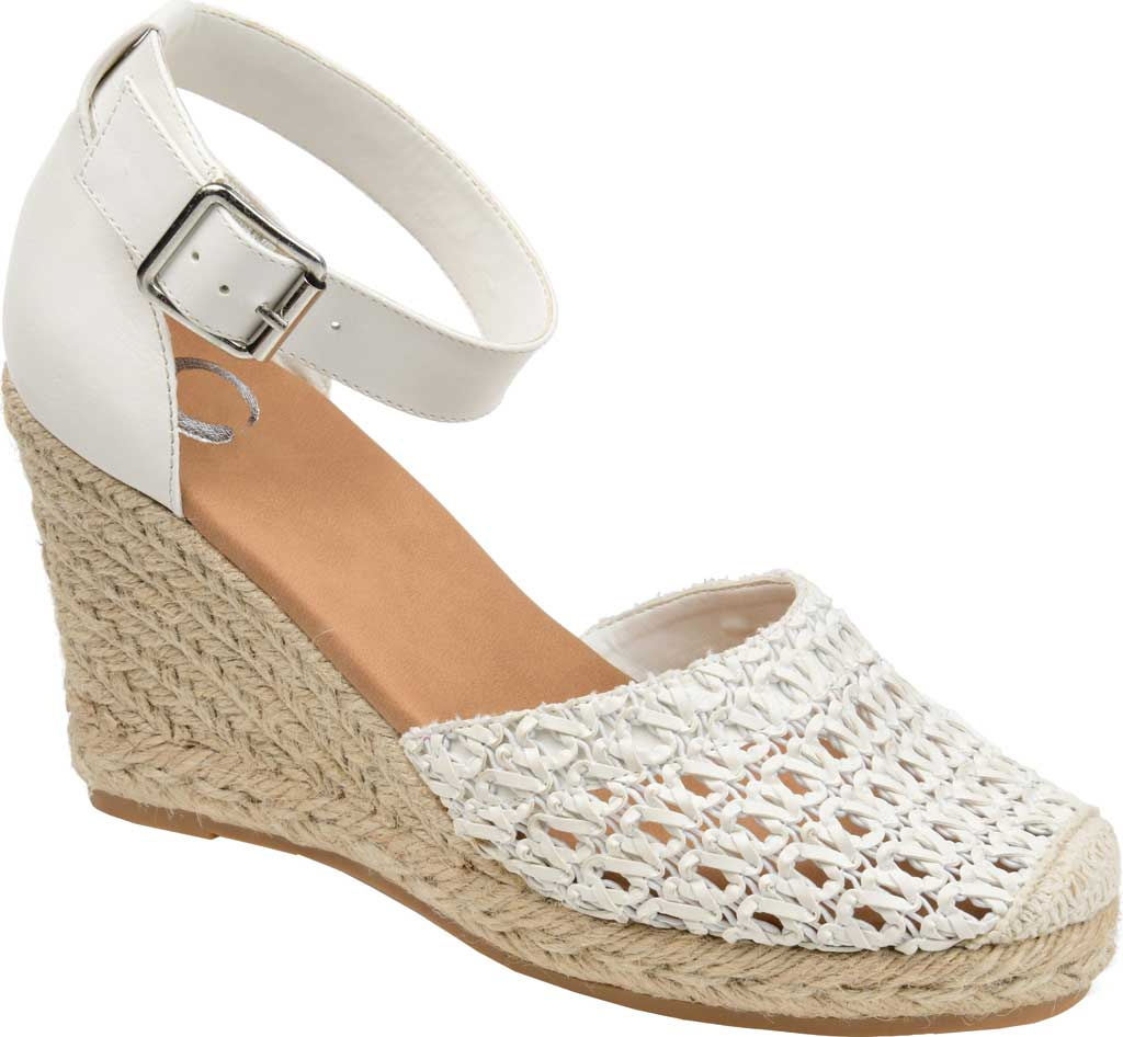 Women's Journee Collection Sierra2 Espadrille Wedge Closed Toe Sandal, White Faux Leather, large, image 1