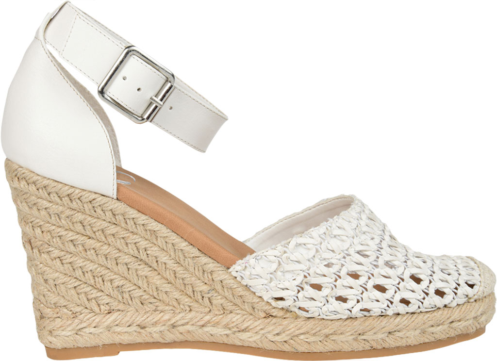 Women's Journee Collection Sierra2 Espadrille Wedge Closed Toe Sandal, White Faux Leather, large, image 2
