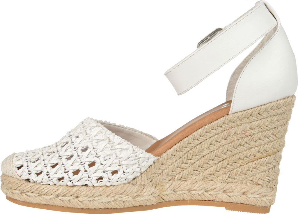 Women's Journee Collection Sierra2 Espadrille Wedge Closed Toe Sandal, White Faux Leather, large, image 3