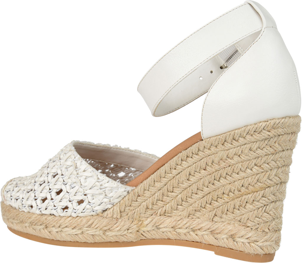 Women's Journee Collection Sierra2 Espadrille Wedge Closed Toe Sandal, White Faux Leather, large, image 4