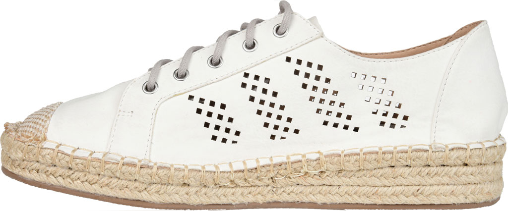 Women's Journee Collection Razili Espadrille Sneaker, White Faux Leather, large, image 3