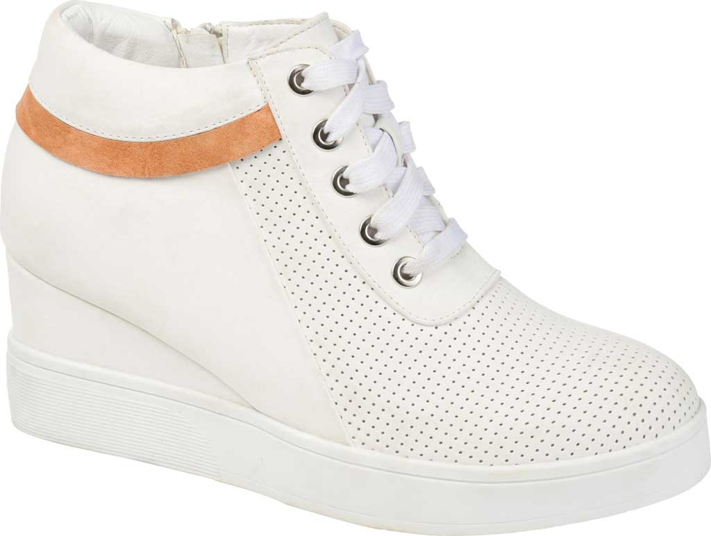 Women's Journee Collection Ayse Wedge Sneaker, White Faux Leather, large, image 1