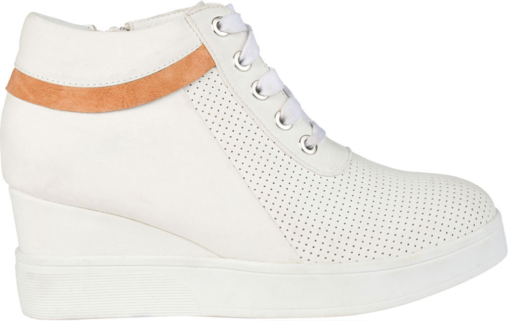 Women's Journee Collection Ayse Wedge Sneaker, White Faux Leather, large, image 2