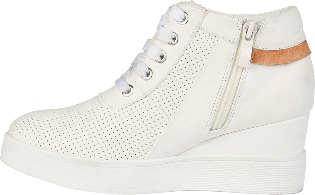 Women's Journee Collection Ayse Wedge Sneaker, White Faux Leather, large, image 3