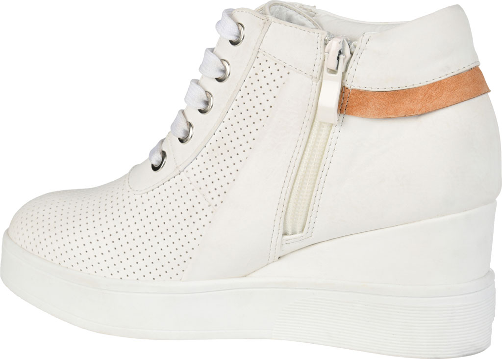 Women's Journee Collection Ayse Wedge Sneaker, White Faux Leather, large, image 4
