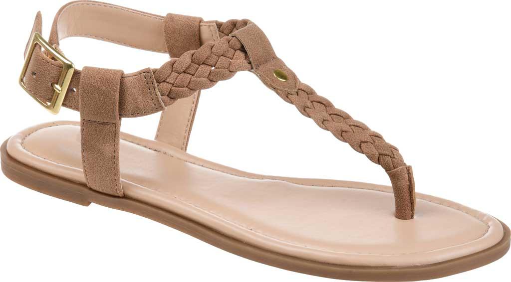 Women's Journee Collection Genevive Flat Thong Sandal, Brown Faux Nubuck, large, image 1