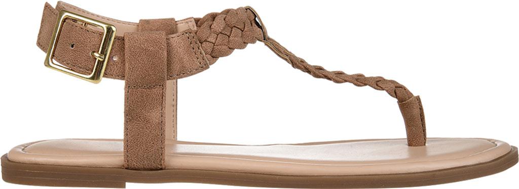 Women's Journee Collection Genevive Flat Thong Sandal, Brown Faux Nubuck, large, image 2