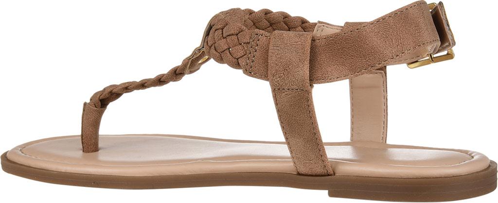 Women's Journee Collection Genevive Flat Thong Sandal, Brown Faux Nubuck, large, image 4