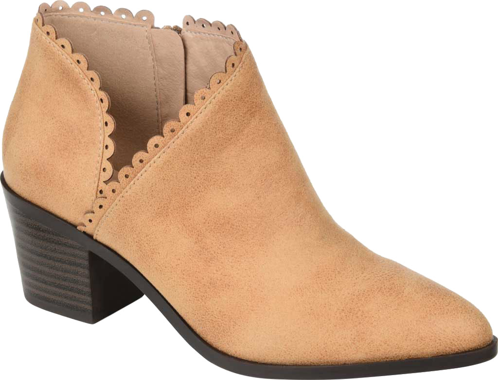 Women's Journee Collection Tessa Ankle Bootie, Tan Faux Suede, large, image 1
