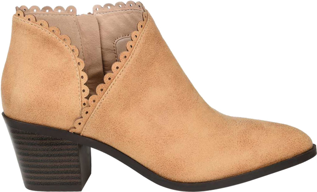 Women's Journee Collection Tessa Ankle Bootie, Tan Faux Suede, large, image 2