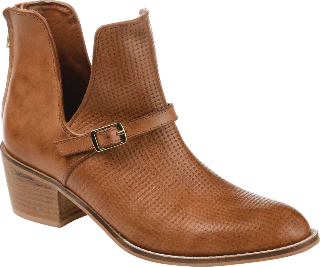 Women's Journee Collection Shaw Cut Out Ankle Bootie, Cognac Leather, large, image 1