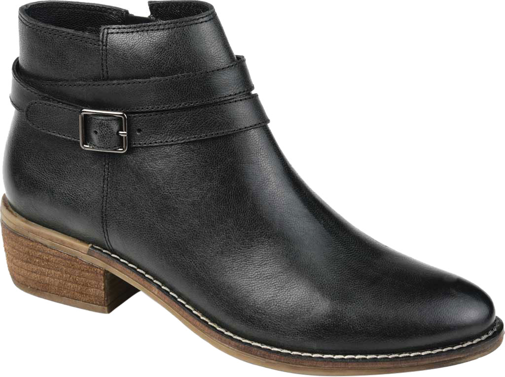 Women's Journee Collection Rachelle Ankle Bootie, Black Leather, large, image 1
