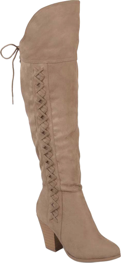 Women's Journee Collection Spritz-S Wide Calf Over The Knee Boot, Taupe Faux Suede, large, image 1