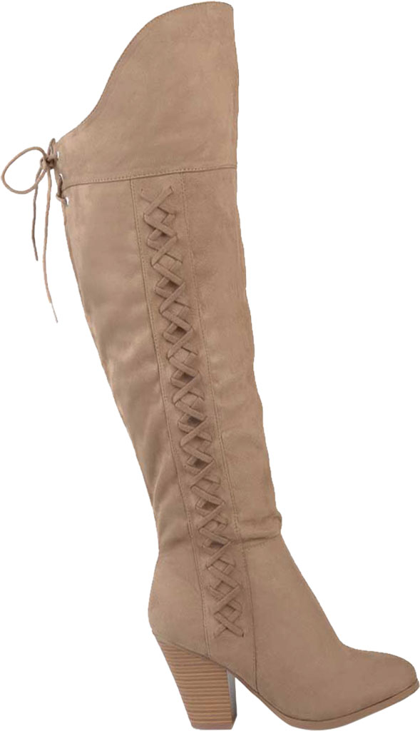 Women's Journee Collection Spritz-S Wide Calf Over The Knee Boot, Taupe Faux Suede, large, image 2