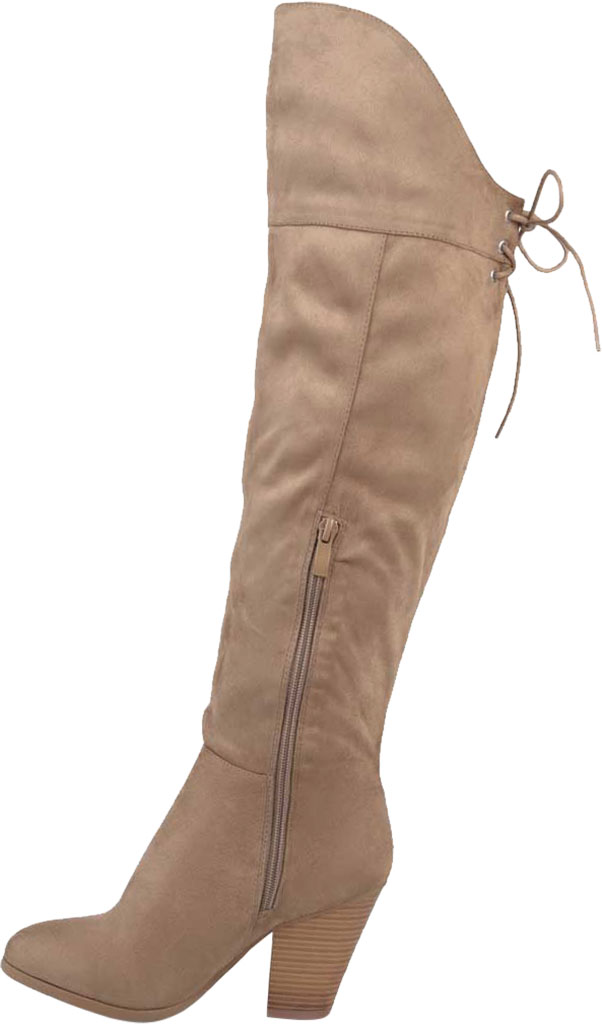 Women's Journee Collection Spritz-S Wide Calf Over The Knee Boot, Taupe Faux Suede, large, image 3