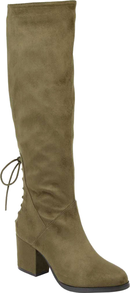Women's Journee Collection Leeda Wide Calf Knee High Boot, Olive Faux Suede, large, image 1