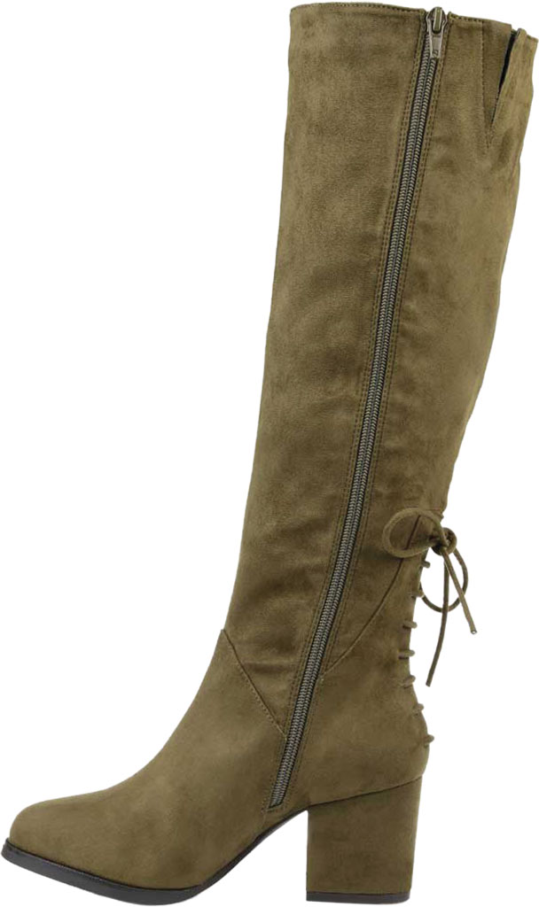 Women's Journee Collection Leeda Wide Calf Knee High Boot, Olive Faux Suede, large, image 3