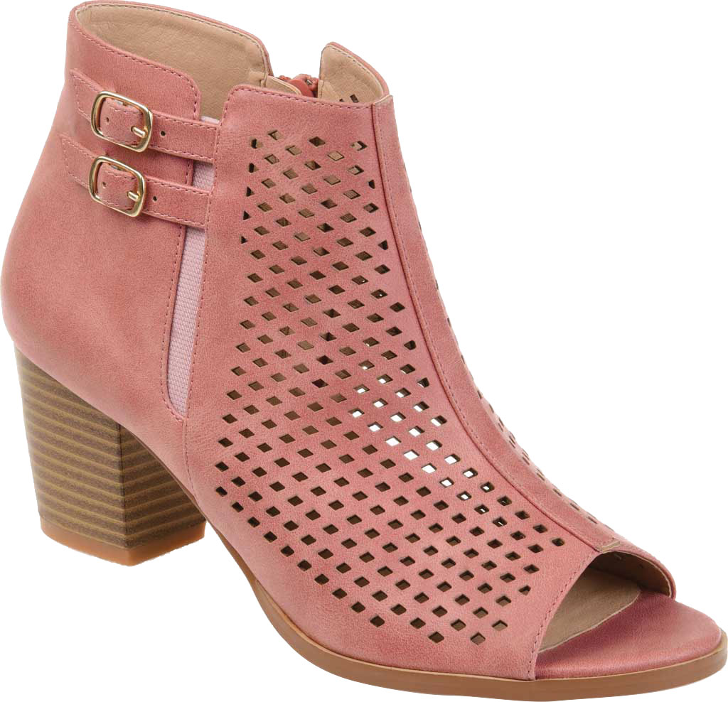 Women's Journee Collection Harlem Open Toe Bootie, Pink Faux Leather, large, image 1