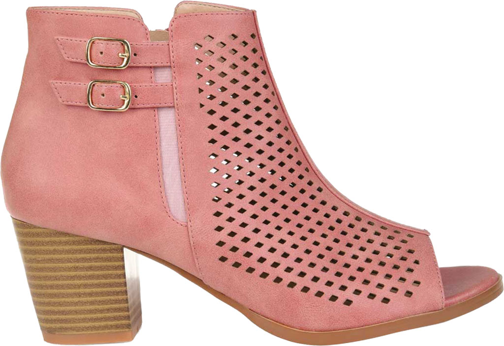 Women's Journee Collection Harlem Open Toe Bootie, Pink Faux Leather, large, image 2
