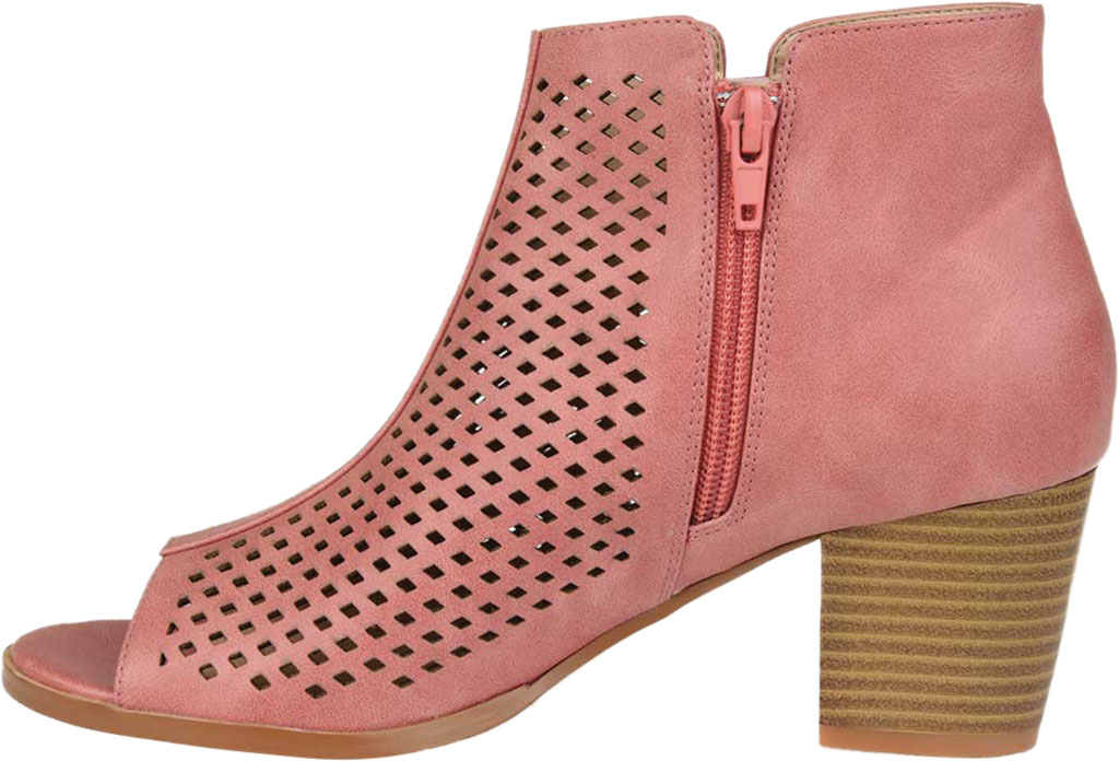 Women's Journee Collection Harlem Open Toe Bootie, Pink Faux Leather, large, image 3