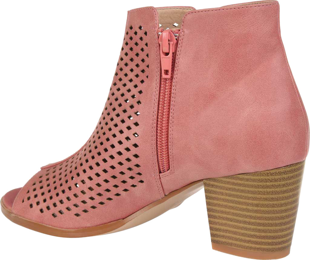 Women's Journee Collection Harlem Open Toe Bootie, Pink Faux Leather, large, image 4