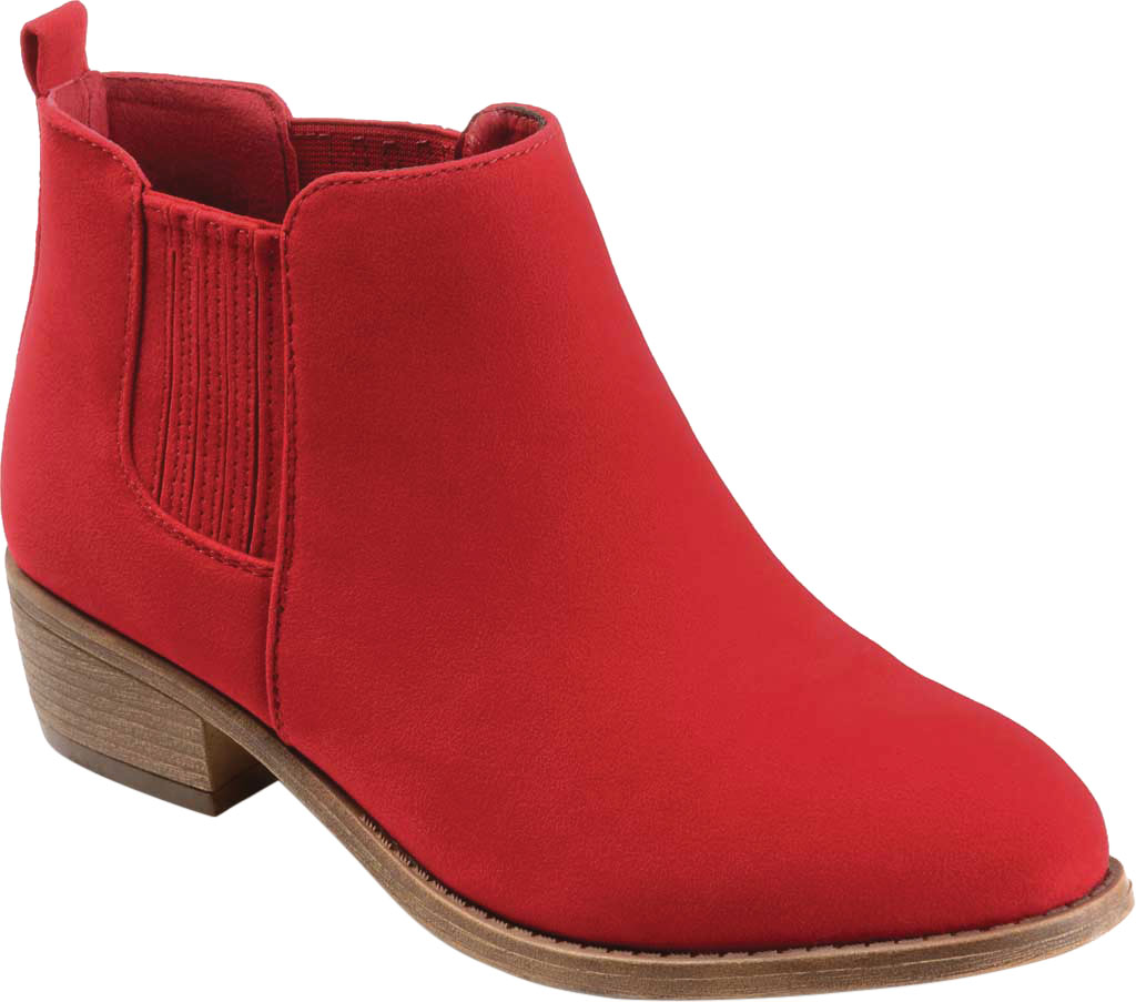 Women's Journee Collection Ramsey Chelsea Bootie, Red Faux Suede, large, image 1