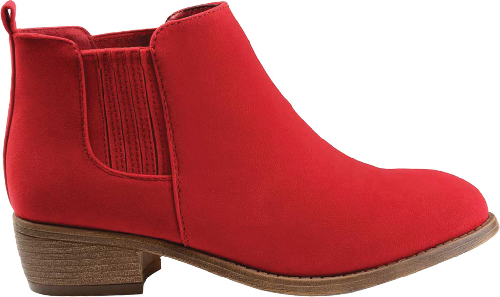 Women's Journee Collection Ramsey Chelsea Bootie, Red Faux Suede, large, image 2
