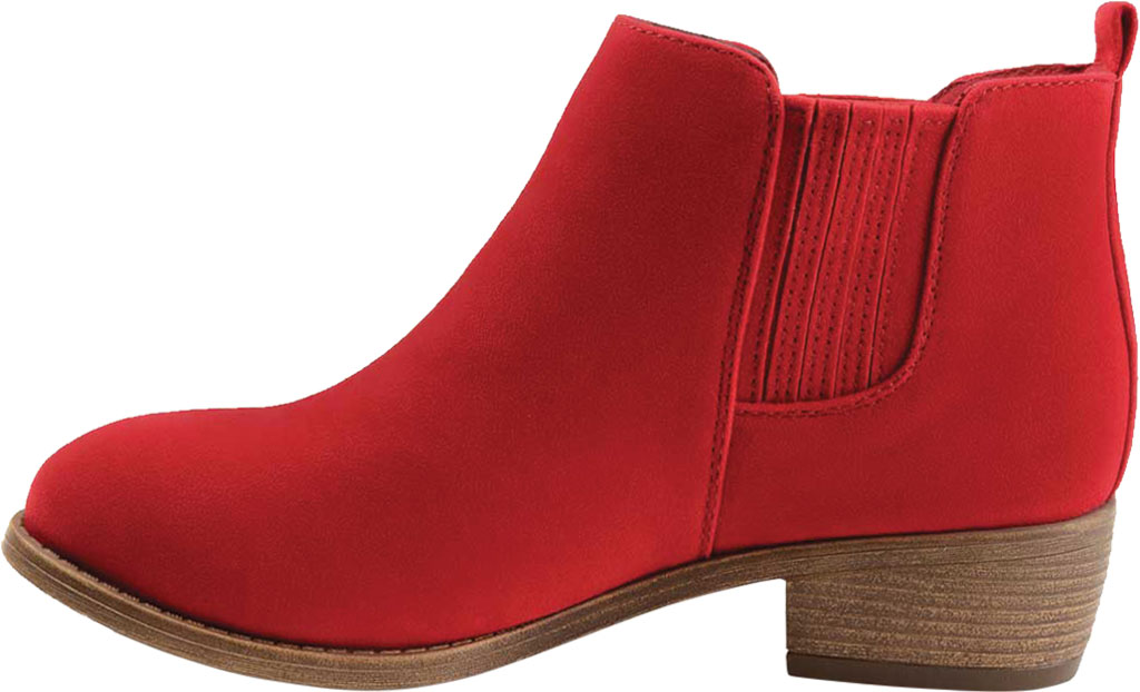 Women's Journee Collection Ramsey Chelsea Bootie, Red Faux Suede, large, image 3