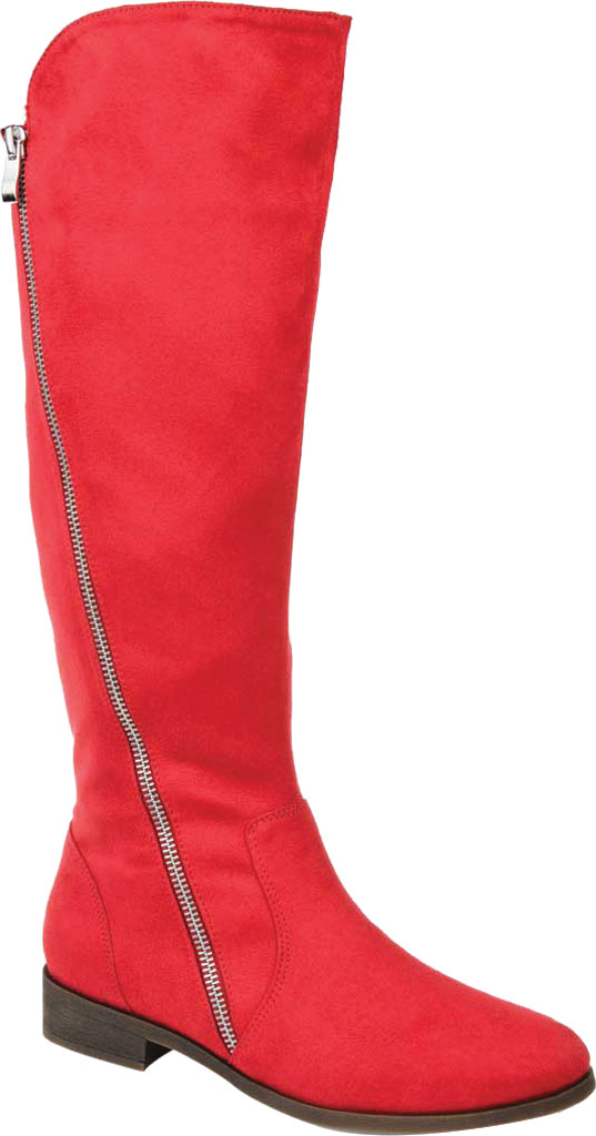 Women's Journee Collection Kerin Extra Wide Calf Knee High Boot, Red Microsuede, large, image 1