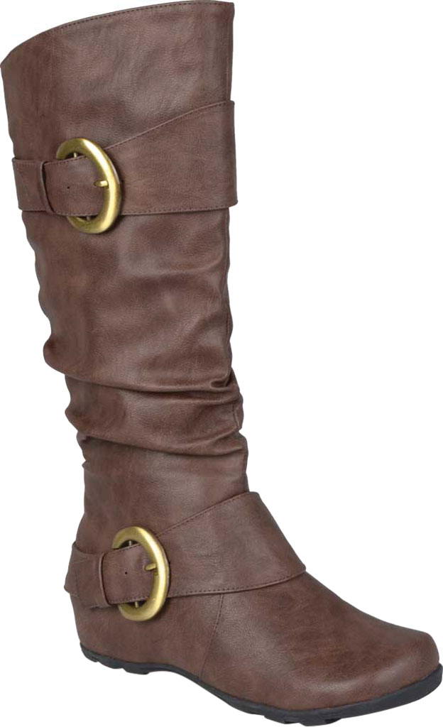 Women's Journee Collection Paris Extra Wide Calf Slouch Boot, Brown Faux Leather, large, image 1