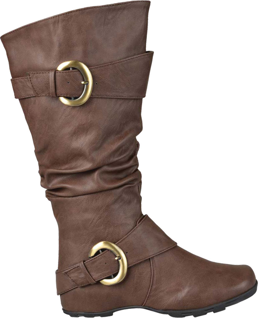 Women's Journee Collection Paris Extra Wide Calf Slouch Boot, Brown Faux Leather, large, image 2