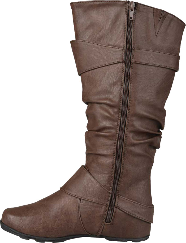 Women's Journee Collection Paris Extra Wide Calf Slouch Boot, Brown Faux Leather, large, image 3