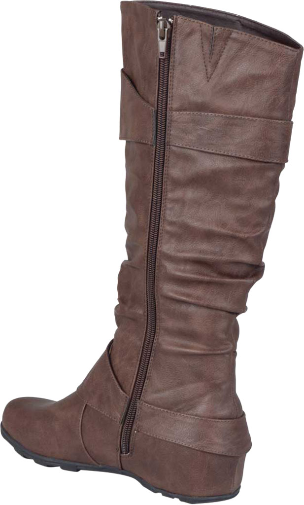Women's Journee Collection Paris Extra Wide Calf Slouch Boot, Brown Faux Leather, large, image 4