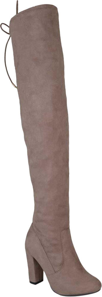 Women's Journee Collection Maya Wide Calf Over The Knee Boot, Taupe Faux Suede, large, image 1