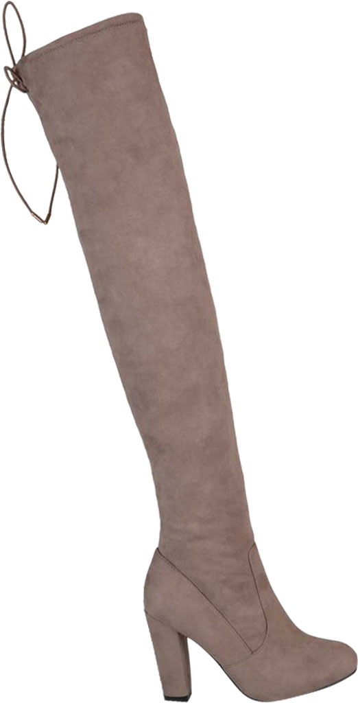 Women's Journee Collection Maya Wide Calf Over The Knee Boot, Taupe Faux Suede, large, image 2