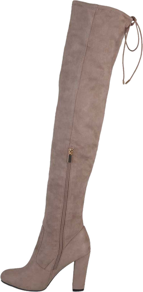 Women's Journee Collection Maya Wide Calf Over The Knee Boot, Taupe Faux Suede, large, image 3