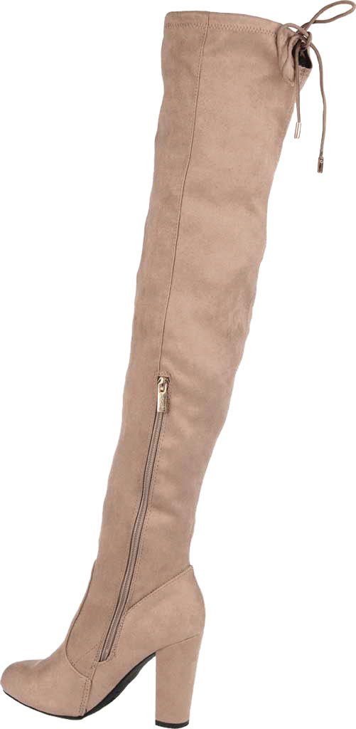 Women's Journee Collection Maya Wide Calf Over The Knee Boot, Taupe Faux Suede, large, image 4